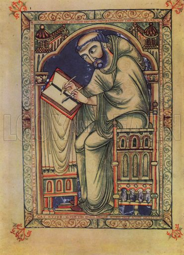 Portrait of the scribe Eadwine, from the Canterbury Psalter.  Illustration for The English Church by G K A Bell (Collins, 1942). Only suitable for repro at small size.
