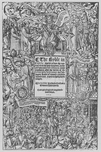 Title-page of the Great Bible, 1539.  Illustration for The English Church by G K A Bell (Collins, 1942). Only suitable for repro at small size.