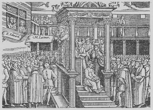 Hugh Latimer preaching before King Edward VI.  From Foxe's Book of Martyrs, 1570.  Illustration for The English Church by G K A Bell (Collins, 1942).  Only suitable for repro at small size.