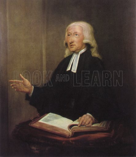 John Wesley, portrait.  Illustration for The English Church by G K A Bell (Collins, 1942).  Only suitable for repro at small size.