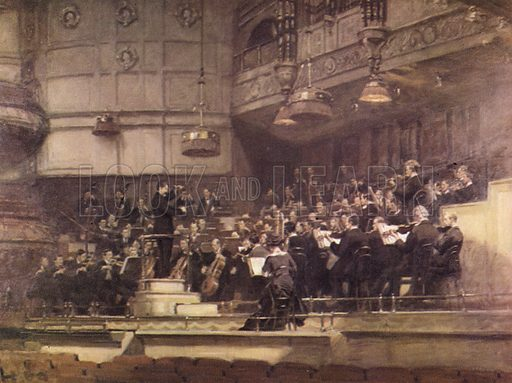 Queen's Hall, 1912.  Nikisch rehearsing with the London Symphony Orchestra.  Illustration for The Proms by Thomas Russell (Max Parrish, 1949).