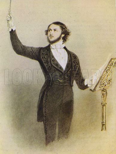 Jullien conducting.  Illustration for The Proms by Thomas Russell (Max Parrish, 1949).
