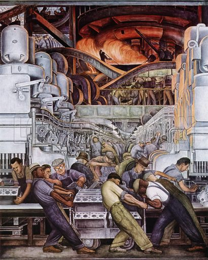 Man and Machinery. Illustration for A Treasury of Art Masterpieces edited by Thomas Craven (Simon and Schuster, 1939).