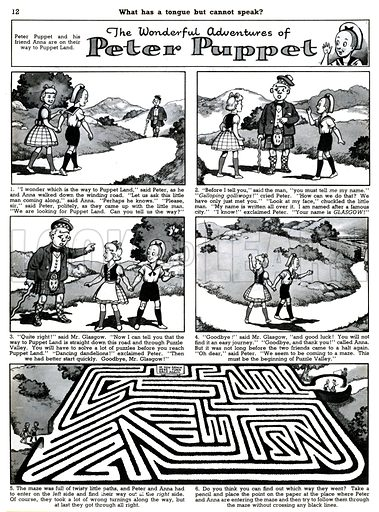 Peter Puppet. Comic strip from Playhour, 9 July 1955.
