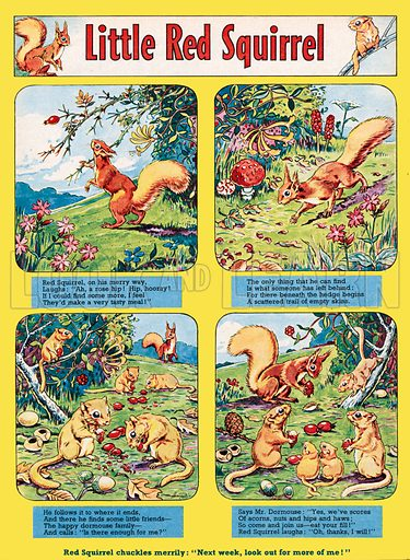 Little Red Squirrel. Comic strip from Playhour, 22 September 1956.