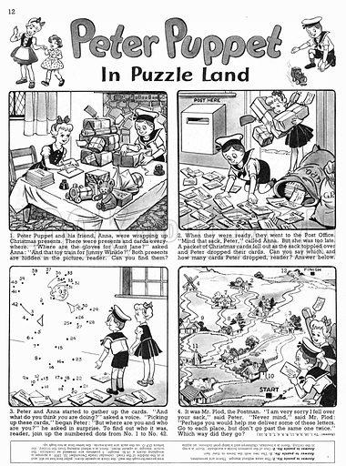 Peter Puppet. Comic strip from Playhour, 15 December 1956.
