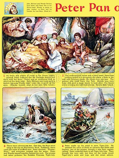 Peter Pan and Wendy. Comic strip from Playhour (1958–59).
