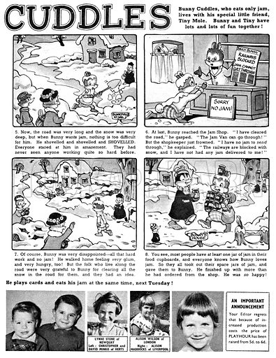 Funny Bunny Cuddles. Comic strip from Playhour 13 January 1962.