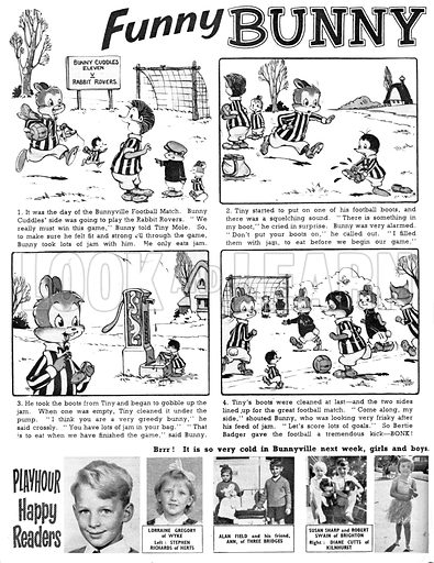 Funny Bunny Cuddles. Comic strip from Playhour, 10 February 1962.