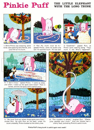 Pinkie Puff. Comic strip from Playhour, 17 July 1976.