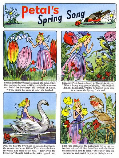 Petal's Spring Song. Comic strip from Playhour Annual 1957.