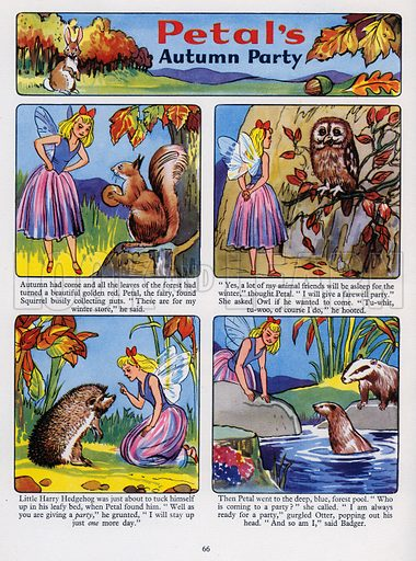 Petal's Autumn Party. Comic strip from Playhour Annual 1957.