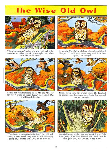 The Wise Old  Owl. Feature from Playhour Annual 1957.