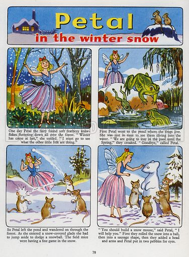 Petal in the Winter Snow. Comic strip from Playhour Annual 1957.