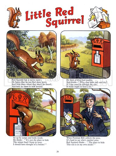 Little Red Squirrel. Comic strip from Playhour Annual 1958.