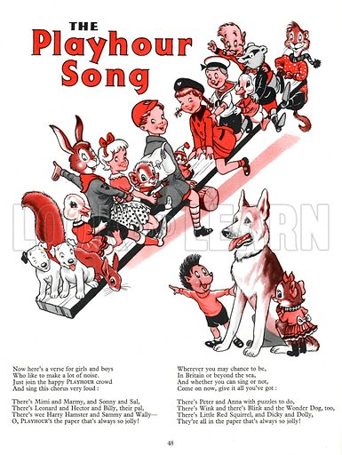 The Playhour Song. Illustration from Playhour Annual 1958.