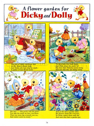 Dicky and Dolly. Comic strip from Playhour Annual 1958.