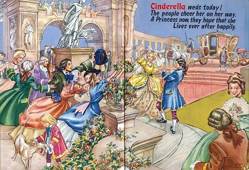 Cinderella. Endpaper illustration from Playhour Annual 1958.