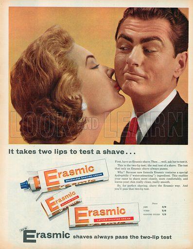 Erasmic Shaving Cream Advertisement, 1958.