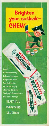 Wrigley's Spearmint Chewing Gum Advertisement, 1958.