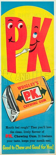 Wrigley's P K Chewing Gum Advertisement, 1958.