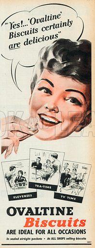 Ovaltine Biscuits Advertisement, 1958.