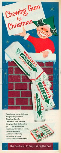 Wrigley's Spearmint Chewing Gum Advertisement, 1957.