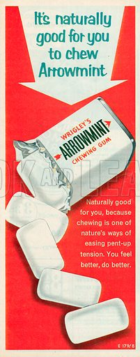 Wrigley's Arrowmint Chewing Gum Advertisement, 1958.