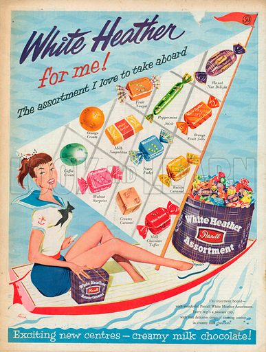 White Heather Pascall Assortment Advertisement, 1957.