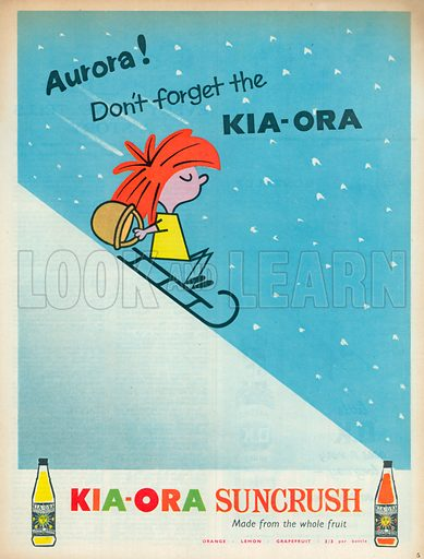 Kia-Ora Suncrush Advertisement, 1957.