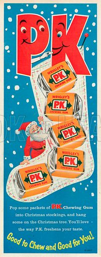 Wrigley's P.K. Chewing Gum Advertisement, 1957.