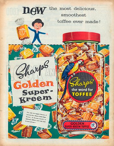 Sharps Toffee Advertisement, 1957.