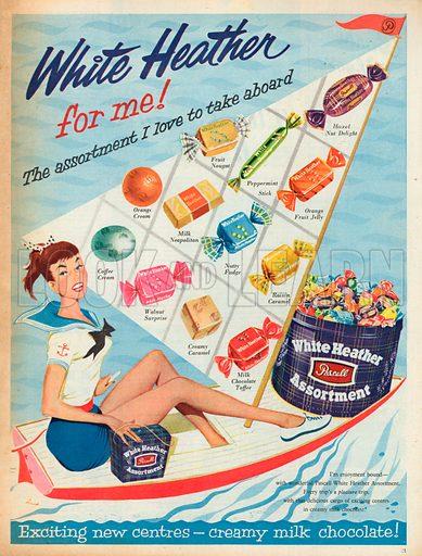 White Heather Pascall Assortment Advertisement, 1957.