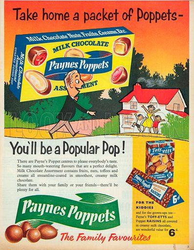 Milk Chocolate Paynes Poppets Advertisement, 1957.