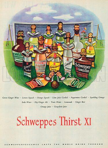 Schweppes Thirst XI Advertisement, 1954.