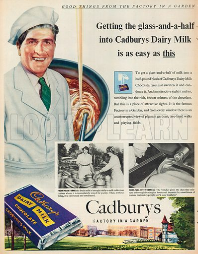 Cadbury's Dairy Milk Chocolate Advertisement, 1954.