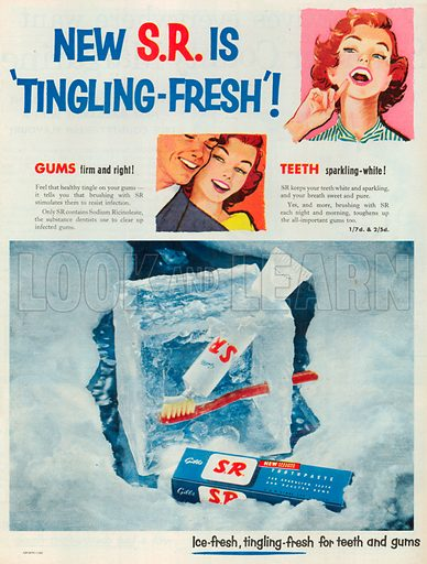 S.R. Toothpaste Advertisement, 1954.