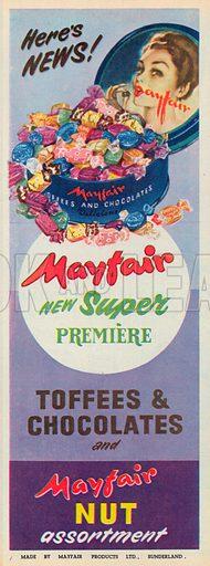 Mayfair Nut Assortment Advertisement, 1954.