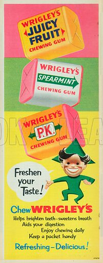 Wrigley's P.K. Chewing Gum Advertisement, 1954.