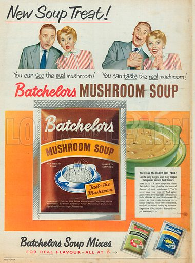 Batchelors Mushroom Soup Advertisement, 1954.