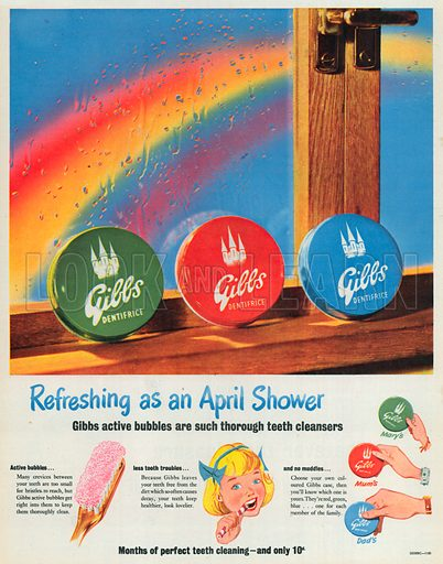 Gibbs Dentifrice Advertisement, 1954.