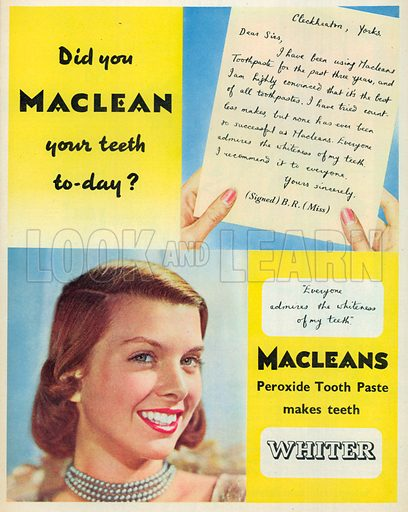 Macleans Peroxide Tooth Paste Advertisement, 1954.