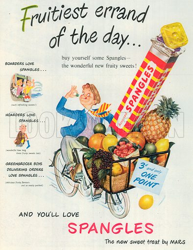 Assorted Spangles Advertisement, 1954.