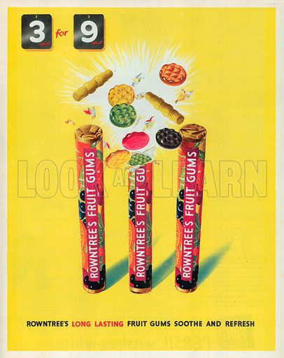 Rowntree's Fruit Gums Advertisement, 1951.