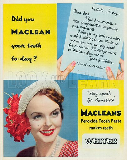 Macleans Peroxide Toothe Paste Advertisement, 1951.