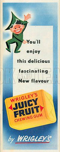 Wrigley's Juicy Fruit Chewing Gum Advertisement, 1951.