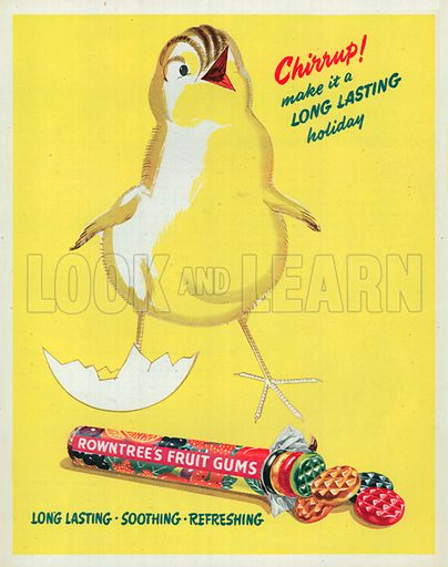 Rowntree's Fruits Gums Advertisement, 1951.