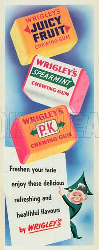 Wrigley's P.K. Chewing Gum Advertisement, 1951.