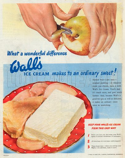Wall's Ice Cream Advertisement, 1951.