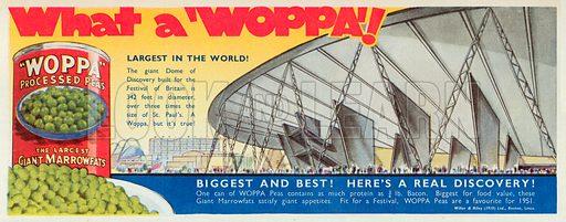 Woppa Processed Peas Advertisement, 1951.